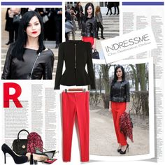 """""""Get the Look : Leigh Lezark's red pants"""" by tatiana-rio on Polyvore"""