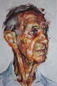 Paul Wright - Octogenarian, Oil on board 30cmx20cm
