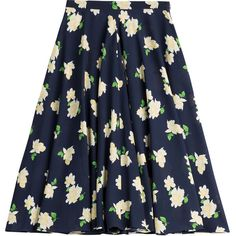 Michael Kors Collection Navy Floral Silk Skirt (2,760 HKD) ❤ liked on Polyvore featuring skirts, florals, navy pleated skirt, blue floral skirt, knee length skirts, navy knee length skirt and flare skirt