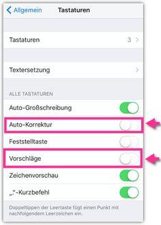 iPhone Autokorrektur und Vorschläge deaktieren oder aktivieren Ipad, Iphone, Autos, Keyboard, Tutorials