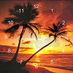 Tropical Beach Sunset Modern Wall Clock on CafePress.com
