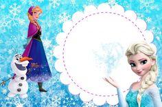 Convite Frozen Anna e Elsa Fundo flocos de neve