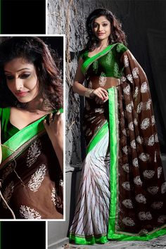 Stylish Chocolate, Off White Georgette Printed Saree with Lace Border