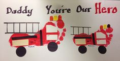 Father's Day card / fire trucks foot prints
