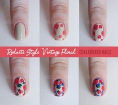 Chalkboard Nails: Sally Hansen x Rodarte Tie Dye and Floral Mix (+ Tutorial) #nailart #tutorial #iheartnailart @sallyhansen
