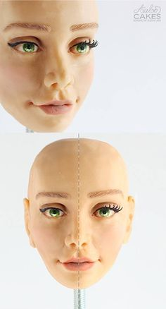 Video Tutorial: adding details to the face. Shading, painting, eyelashes and eyebrows. Loaded with tips and tricks that you haven't seen anywhere else! Click through to see more! Doll Making Tutorials, Clay Tutorials, Cake Decorating Techniques, Cake Decorating Tutorials, Fondant People, Fondant Figures Tutorial, Fondant Face Tutorial, Fondant Animals, Modeling Chocolate