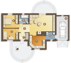 Projekt domu Skowronek styl z garażem [A] 73 - koszt budowy 120 tys. Single Storey House Plans, One Storey House, House Floor Design, Bungalow House Design, Home Design Diy, Home Design Plans, Low Cost House Plans, Modern Bungalow House Plans, 2 Bedroom House Plans
