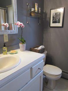 Design Megillah: Bathroom Redesign for Under $200!  Cinder Benjamin moore