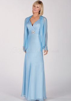 Sheath Beaded Chiffon zipper back Sleeveless blue Mother of the Bride Dresses - Gopromdress.co.uk