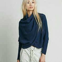 Free people sugar wrap sweater So-soft and snuggly pullover wrap-front top with a dramatic cowl neck, cinched waist, and long dolman sleeves. Stretchy.  51% Cotton. 24% Polyester. 16% Acrylic. 6% Wool. 3% Spandex.  Hand Wash Cold.  Import. Free People Sweaters