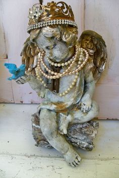 Angel statue with crown hand made adorned sculpture french nordic santos inspired mix home decor anita spero. $230.00, via Etsy.