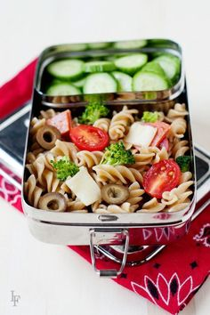 an easy idea to add a little variety to the lunchbox with leftover pasta