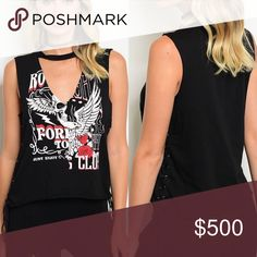 Black low V choker grunge tank This Sleeveless open front choker graphic tank features a low V neckline and faux choker. It laces up on the sides and is 96% cotton and 4% spandex with a relaxed fit. BellaBae Tops Muscle Tees