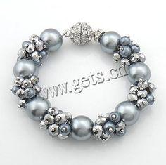Pulsera o collar en perla gris grande y pequeña mezclada con piedra facetada plateada y broche de plata