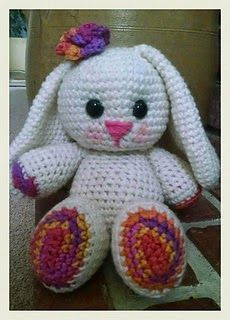 This bunny pattern made by Angela Levell is a free download on Ravelry.