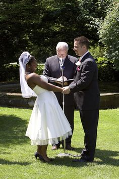 Elated interracial couple on their wedding day #love #wmbw #bwwm