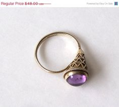 SALE Silver Amethyst Cabochon Ring Cone by MargsMostlyVintage