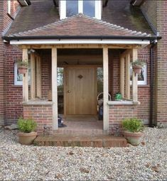 Building open porch but should I go with brick pil. - Building open porch but should I go with brick pil… – Building open porch but should I go with brick pil… – - Oak Front Door, Front Door Porch, Front Porch Design, Front Door Entrance, Front Door Overhang, Porch Uk, House With Porch, House Front, Porch Extension