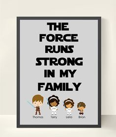 Star Wars Personalized Family Wall Art - Family Tree - Kid's Wall Art 11X14 -Archival Paper - Children's Room Decor on Etsy, £14.81