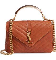 All Saint Laurent Ysl College Bag Medium, College Bags, Purses And Handbags, Leather Handbags, Leather Bag, Saint Laurent Paris, Brown Bags, Medium Bags, Purse Wallet