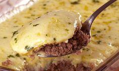 Receita de Torta de carne moída com batata - Torta salgada e quiche - Dificuldade: Fácil - Calorias: 248 por porção