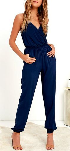 Even if you're too timid for skydiving, the Learning to Fly Navy Blue Jumpsuit will take you on an unexpected journey! This woven jumpsuit is as fun as it is cute, adding adjustable halter ties to a sexy wrap bodice, plus a strip of elastic at back for fi Navy Jumpsuit, Backless Jumpsuit, Jumpsuit Outfit, Summer Jumpsuit, Sparkly Jumpsuit, Dress Summer, Pants Outfit, Fashion Mode, Look Fashion