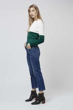 Colour blocking is an easy trend to wear this season. Keep things chic in simple silhouettes of straight cut jeans and ankle boots. #Topshop