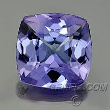 square cushion tanzanite, pale specimen, but great fire.  Tanzanite is know for it's display of  three colors, purple, blue, reds