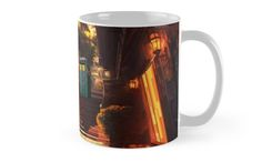 Time Traveller lost in china town art painting Mugs #mugs #travelmugs #tardis #publiccallbox #phonebox #bluephonebooth #cinatown #dusk #drwho #davidtennant #fullcolor #10th