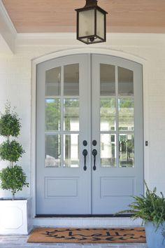 Front Door Paint Colors, Exterior Paint Colors For House, Painted Front Doors, Paint Colors For Home, Exterior Colors, Outside House Paint Colors, House Exterior Color Schemes, White Exterior Houses, Grey Exterior