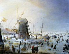The Athenaeum - Winter Landscape with a Windmill (Hendrick Avercamp - ) Dutch, 1585-1634 (Dutch Golden Age)