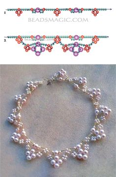 Free pattern for beaded bridal necklace Elbrus | Beads Magic
