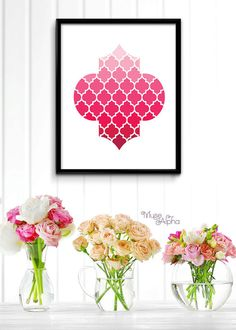 Pink Moroccan Pattern Moroccan Printable Art Moroccan by MuseAlpha