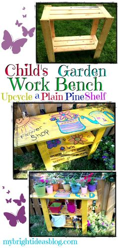 Add color to your garden with a Potting Table, Garden Work Bench. Take a simple pine shelf and upcyc Diy Furniture Repair, Pine Shelves, Easy Garden, Garden Ideas, Garden Projects, Potting Tables, Easy Sewing Projects, Woodworking Projects, Garden Table