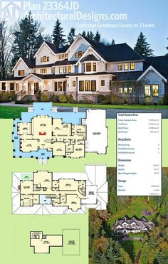 Architectural Designs Luxury Craftsman Farmhouse Plan 23364JD gives you 3 levels of living if you build out the top floor.   Ready when you are. Where do YOU want to build?  Main Floor - ~3,400 sq. ft. 2nd Floor - ~3,000 sq. ft. 3rd Floord - ~1,000 sq. ft.