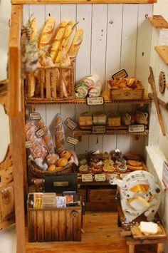 ♡♡ Panadería Vitrine Miniature, Miniature Rooms, Miniature Crafts, Miniature Houses, Diy Dollhouse, Dollhouse Miniatures, Dolls House Shop, Tiny Food, Polymer Clay Miniatures