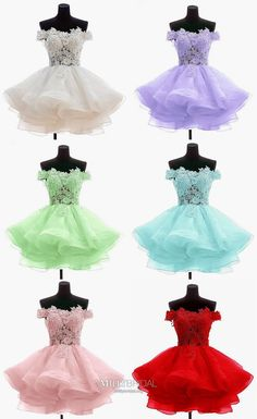 Short Homecoming Dresses, Princess Prom Dresses Lace, Cute Cocktail Party Dresses Off-the-shoulder, Gorgeous Sweet Sixteen Dresses Tulle