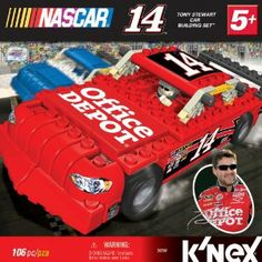 Nascar No.14 Office Depot Car Building Set by NASCAR. $13.35. For ages 5+. Built car measures 7? in length, or 1:29 scale. Step-by-step building instructions included. Includes 100+ K'NEX parts and K'NEXman driver. Authentic sponsor logos replicate the 14 Office Depot Car. From the Manufacturer                Build Tony Stewart's 14 Office Depot Car! Includes 100+ K'NEX bricks, rods and connectors, as well as wheels for push play. There is also a Tony Stewart K'NEXman so you are ...