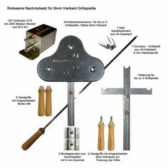 BBQ Rotisserie Upgrade Kit for up to 3 stainless spits 8 mm square