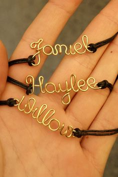 Wire name personalized friendship bracelet gold name by SheBijouPl