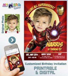 Ironman Birthday Invitation. Ironman Birthday Ideas. Iron Man Party Ideas. Turn your boy into Ironman for his Avengers Birthday Invitation.   #IronmanBirthdayIdeas #IronmanPartyIdeas #IronmanBirthdayInvitation #AvengersPartyIdeas ‪#‎myheroathome‬