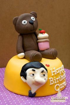 Mr Bean and teddy! from Delectable by Su. Mr Bean Birthday, Summer Birthday, Birthday Parties, Birthday Cakes, Mr Bean Cake, Bean Cakes, Beautiful Cakes, Amazing Cakes, Fondant