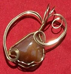 FREE S - Pendant - Beautiful Wire Wrapped Honey Agate in Gold - A JewelryArtistry Original - P210