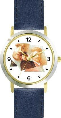 Rembrandt Self Portraits - WATCHBUDDY® DELUXE TWO-TONE THEME WATCH - Arabic Numbers - Blue Leather Strap-Size-Children's Size-Small ( Boy's Size & Girl's Size ) WatchBuddy. $49.95