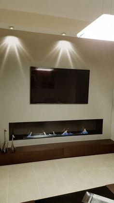 Chimenea moderna a gas mobles i decoraci interiors - Muebles de salon con chimenea integrada ...