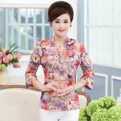 Chino Diseño Frontal Botón Camisas de Las Mujeres de Mediana Edad de la Mujer Clásica de La Vendimia Elegancia Mamá Con Clase…