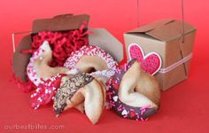 """Love note filled Fortune Cookies from ourbestbites.com... My mom used to make something like this for friends, with a little tag that said, """"So fortunate to have a friend like you!"""" CUTE :)"""