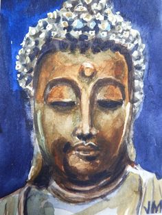 Stone Buddha Head ,ACEO Original collectible art card Watercolor Painting #Realism