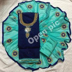 e4c9ff5c15 Modal Chanderi Cotton With Khatli Hand Work Dress Material (7 Pc Set) Pc