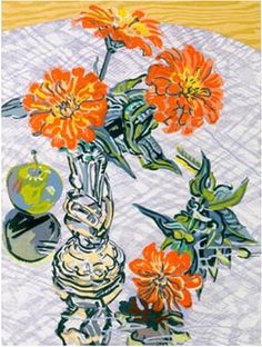 Zinnias and Apple - Janet Fish prints http://www.printed-editions.com/art-print/janet-fish-zinnias-and-apple-59378